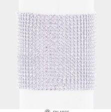 Clear White Rhinestone Crystal Wide Hand Chain Cuff Silver Wedding Bracelet