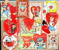 Group of 12 Adorable 1920s Through 1960s Vintage Valentine's Day Cards