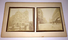 Antique Victorian American Photos on Board! City Scene & Church Welcome! Travel!