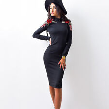 2017 Autumn Fashion Women Tight Dress Casual O-neck Long Sleeved Appliques Dress