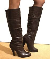 Sexy Ladies Real Leather Long Boots High Heel 6 39 Dark Brown Round Toe Zip Aldo