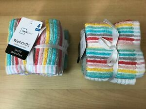 Mainstays 2 PACK=8 PCS 12''x12'' 100%Cotton Washcloth Collection Assorted Colors