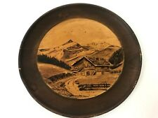 Vintage Wood Inlay Souvenir Plate Gstaad Switzerland Mountain Wall Art Decor
