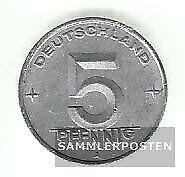 DDR Jägernr: 1502 1950 A sehr schön Aluminium 1950 5 Pfennig Ähre auf Zahnrad