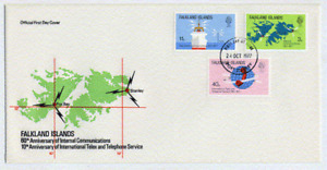FALKLAND ISLANDS 1977 TELECOMMUNICATIONS FOX BAY FDC WITH 40P SHOWING VARIETY