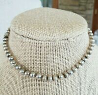 Antique Fish Scale Glass Wx Pearl Choker Necklace For Parts or Restore GF Clasp