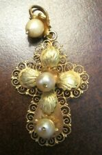 Wired w/ Pearls, 4.3 Gms Mexico Vintage Ornate 12K Gold Filigree Cross Pendant,