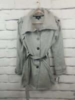 IZ Byer Womens Size XL Tweed Coat Gray White Faux Leather Belt Pockets