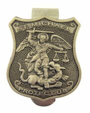 Saint Shield Shaped Medal Visor Clip, 1 1/2 Inch (Saint Michael /Police Officer)