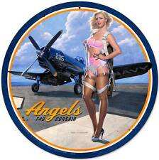 Angels Corsair Pin Up Girl Vintage Distressed Round Metal Sign Wall Decor Hb085