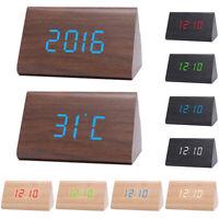 Digital Wooden USB LED Night Light Alarm Clock Thermometer Display Timepiece Hot