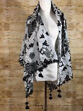 Liberty of London Target Black White Daisy Floral Scarf Shawl Tassel Oversized