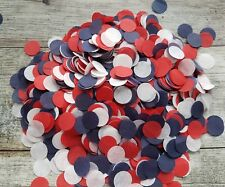 WHITE,RED AND NAVY BLUE CIRCLE CONFETTI MIX WEDDING/2 HANDFULS PARTY FRENCH, US