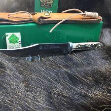 "1993 Puma 6396 Bowie Knife With Stag Handles & Leather Sheath In G / Y Box ""A22"""