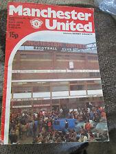 Manchester United Vs Derby County 1979 Programme /bi