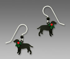 Sienna Sky BLACK LAB with Holly EARRINGS STERLING Silver Dangle Christmas DOG