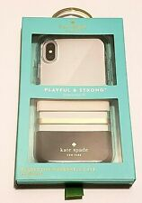 "Kate Spade New York Case for iPhone X and XS (5.8"")Cream/Blush/Gold/Black Stripe"