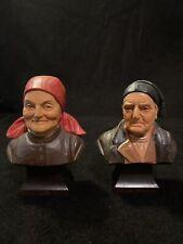 2 Vtg Wood Carved Brienzer Holz-Schnitzerei Old Man & Woman Bust Figurines Swiss