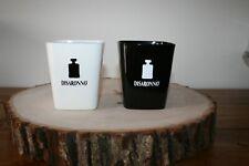 DISARONNO Amaretto Square Glasses 2 Set Bar ware EUC 1 White 1 Black RARE