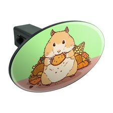 Hamster Eating Stash of Food Oval Tow Trailer Hitch Cover Plug Insert