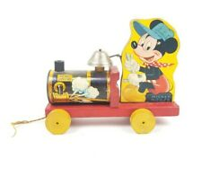 Fisher Price Micky Mouse Vtg Wooden Train