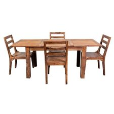 Avalon Mid-Century Modern Sheesham Wood 52 Dining Table with Butterfly Extension
