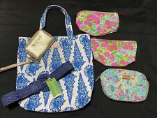Lilly Pulitzer Travel Bag Lot Cosmetic Beach Tote Wallet Blue Pink Green Shell
