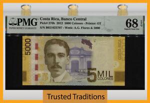 TT PK 276b 2012 COSTA RICA 5000 COLONES PMG 68 EPQ NEAR PERFECTION TIED AS BEST!