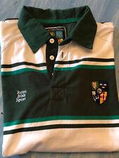 Retro Irish Sport Rugby Shirt Mens 2XL Vintage Style White Green 👍nice! Polo