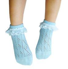 5 Pares niña sin costuras Calcetines de algodón encaje fino Abierto Punto