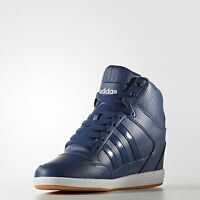 ADIDAS WOMEN'S NEO SUPER HIDDEN WEDGE SHOES  BLUE LEATHER Many SIZES!!!