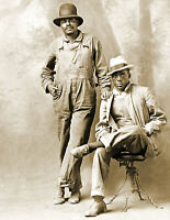 """1916 Portrait of Two African American Men, Kansas Old Photo 8.5"""" x 11"""" Reprint"""