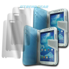 2 X WALLET CASE COVER+SCREEN PROTECTOR FLIP PU LEATHER BLUE GALAXY S IV S4 I9500