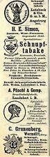 Schnupf- tabak- Fabriken z.B. H.E. Simon Jastrow West-  Preussen Reklame 1912
