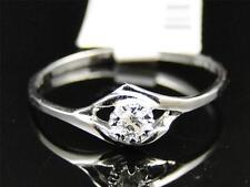 10K Ladies White Gold Round Cut Diamond Solitaire Engagement Wedding Band Ring