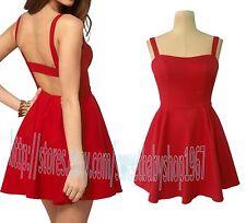 New Womens Fashion Trend Sexy Open Back Club Casual MINI Skater DRESS RED Medium