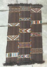 "Mid Century Vintage Bedouin Kilim Rug warp-faced & weft-faced Patterned 90""x50"""