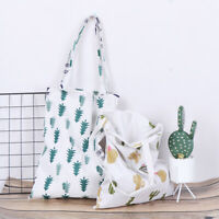 1x Pine cactus linen bag tote ECO shopping outdoor canvas shoulder bags E+