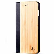Snakehive® Apple iPhone 7 Plus Natural Wood & Leather Phone Folio Wallet Case