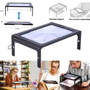 Standlupe Klappbare Leselupe LED-Lampen Lesehilfe Vergrößerungsglas Lupe 3x Fach