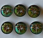 Set of 6 Czech Glass Buttons, Iridescent Green with Raised Gold Dragonflies