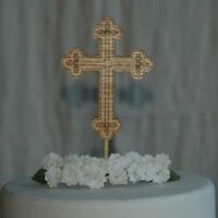 Wooden engraved Cross cake topper for Baptism, Christening, Holy Communion Cake