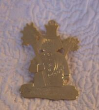 "Lillian Vernon #877 Snowman Merry Christmas Gold Color Ornament 2.5"" Tall"