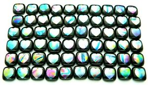 HEARTS ETCHED Lot 60 pcs DICHROIC FUSED GLASS earrings (M3) CAB HAND MADE