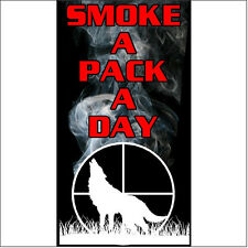 Smoke a pack a day Gun Wolf Hunting Decal Sticker