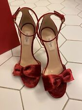 Authentic valentino red velvet high heels size 36.5 never worn still in box