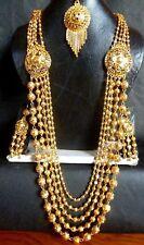 22K Gold Plated Kette Indische Hochzeit 12 /'/' Lange Halskette Ohrringe tikka ka