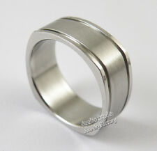 Men's Classic Square 8mm Width 316L Stainless Steel Wedding Band Ring Size 11