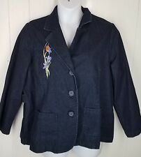 Denim & Co Jacket size 1X Blue denim bird embroidered three buttons womens