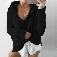 ZANZEA Women Long Sleeve Low Cut Rib Knit Sweaters Loose Casual Knitted Knitwear